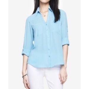 Express baby blue portofino blouse